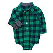 RuggedButts Infant/Toddler Boys Plaid Long Sleeve Button-Up Bodysuit - Navy & Emerald - 12-18m