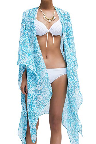 Moss Rose Womens Beach Cover up Swimsuit Kimono Cardigan with Bohemian Floral Print (Color 10)
