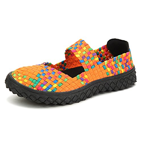 gracosy Women Woven Lightweight Slip On Mary Jane Shoes Casual Flat Elastic Loafers Comfort Platform Wedges Water Shoes Athletic Fitness Walking Running Trainer Sneakers Size Orange z0yVOp