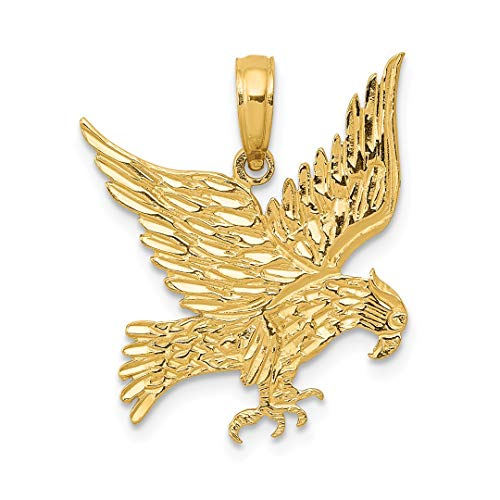 14k Yellow Gold Eagle Pendant Charm Necklace Bird Man Fine Jewelry Gift For Dad Mens For Him ()