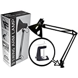 Swing Arm Lamp by HHP | Light for Desk Drafting Table Architect Artist Home Office Studio | Included Black Metal Clamp