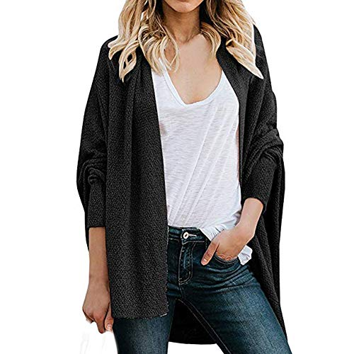 (CUCUHAM Womens Knitted Sweater Open Front Casual Loose Batwing Long Sleeve Cardigan Coat(Y1-Black,X-Large))