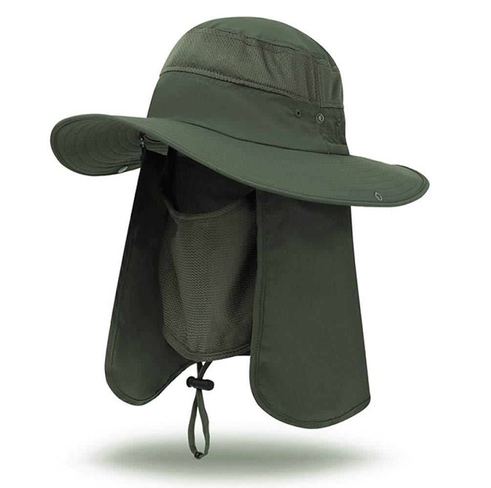 iColor Men s Sun Cap Fishing Hats UV Protection Sun Hats UPF 50 Neck Face Flap Cover Windproof Wide Brim Hat For Men Women Summer Outdoor Work Gardener Travel Green