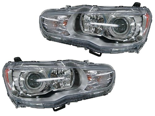- Mitsubishi Lancer Evolution 08-11 Projector Euro Chrome Halogen Headlights Lamps