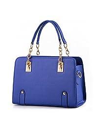 Hynbase Women Fashion Euro Leather Chain Tote Handbag Shoulder Bag