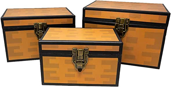 Pixel Treasure Chest Paperboard Boxes (Set of 3), Decoration for Video Gamers, Birthday Parties, Mining Fun, Storage or Display