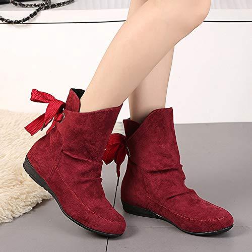 Romana sintetico Fibbia Up Caviglia Donna Stivali Lace Basse Stringate ballerine Rosso Stivali scarpe Martin Mocassini yesmile feltro qfwRX4xT