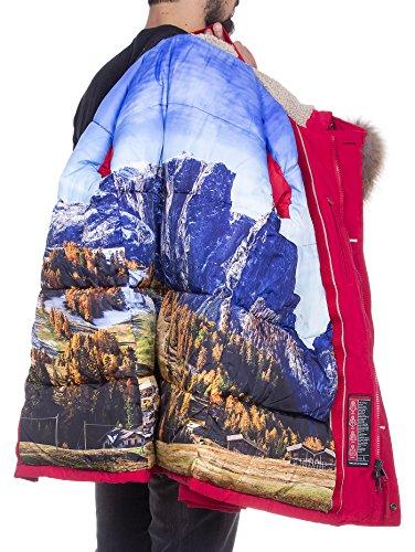 Freedomday -  Anorak acolchado con capucha con pelo, de color azul Rojo