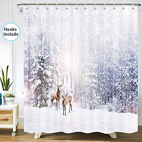 JAWO Winter Shower Curtain for Bathroom, Winter Forest Snowy Mountain Snow Scene with Deers Bathroom Decor, Bathroom Accessories Set, Fabric Bathroom Curtain Set with Hooks, 70 in (Forest Snow In)