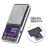 Hochoice Weigh Gram Scale Digital Pocket Scale,100g by 0.01g,Digital Grams Scale,Food Scale, Jewelry Scale Black, Kitchen Scale Milligram scale for powder medicine with Backlit LCD Display, Trays