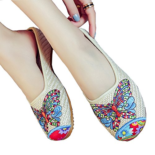 Flat Chinese Shoes Linen Weave Embroidered Women's Slippers Butterfly nwwxB0Pa