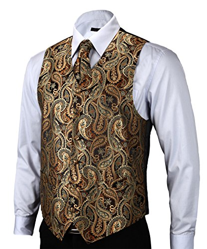 HISDERN Men's Paisley Jacquard Waistcoat Vest Suit Set 2XL(Chest size 45') Gold/ Brown - Mens Jacquard Vest