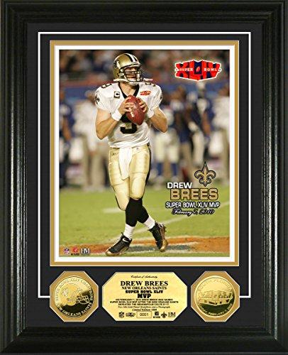 NFL New Orleans Saints Drew Brees Super Bowl XLIV MVP Gold Coin Photo Mint, Gold, 17