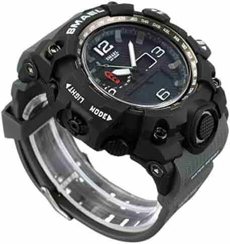 681909f4755 SMAEL Mens Sports Watch Dual Display Digital Wrist Watches with LED  Backlight Military Watch (Dark