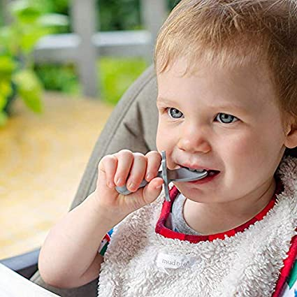 Choke Protection Toddler Utensils 2 Pcs//Set Delisouls Babyware Spoon Fork Set Self-feeding Guide Baby Bowl for Baby Self Feeding Traning