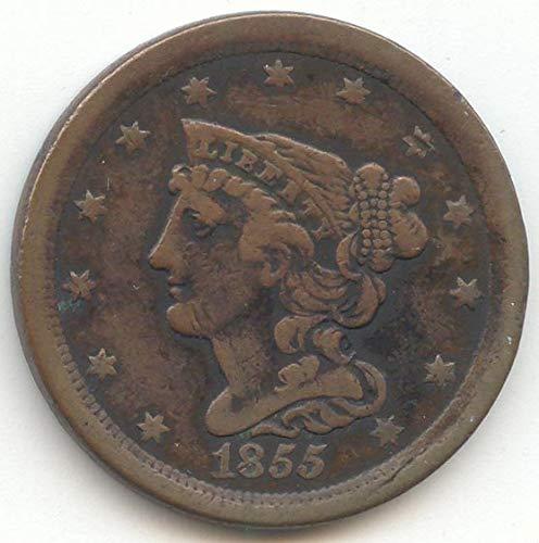 1855 Braided Hair Half Cent Very Fine