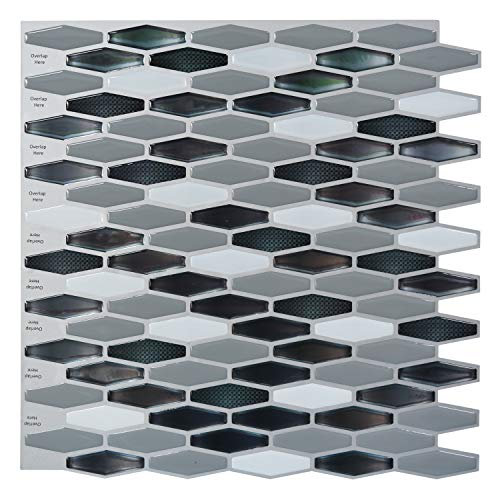 Art3d Peel-N-Stick Kitchen Backsplash Wall Tile Vinyl Wall Sticker, 12