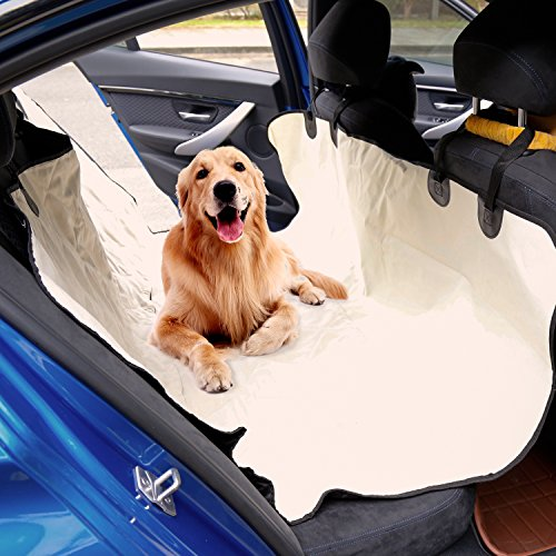 Kinbor Back Pet Car Seat Cover for Dog Cat Protect Car Bench Washable Non-Slip, Beige