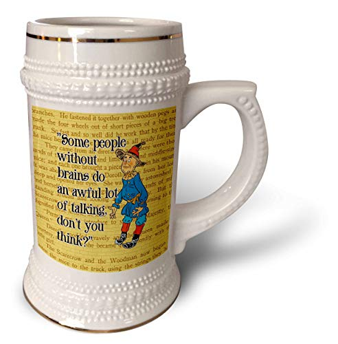 Oz Wedding Of Wizard - 3dRose Russ Billington Designs- Wonderful Wizard of Oz - People Without Brains-Scarecrow over Yellow Brick Background and Text - 22oz Stein Mug (stn_302296_1)