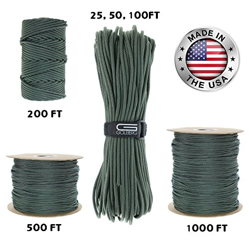 GOLBERG 550lb Parachute Cord Paracord - 100% Nylon USA Made Mil-Spec Type III Paracord - Used by The US Military - Multiple Colors & Lengths Available ()
