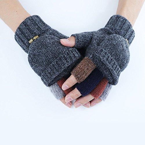 Kay Boya Winter Knit Wool Gloves Thicken Warm Gloves Fold Back Gloves for Men & Women (Grey) by Kay Boya (Image #4)