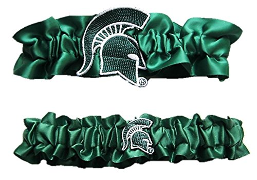 Michigan State Satin Garter Set