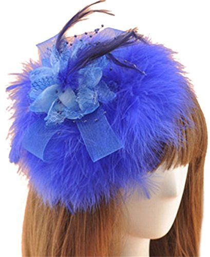 [Fascinator Hair Clip Feather Headpiece Cocktail Party Wedding Hair Accessories (Blue)] (Cosplay Costume Making)