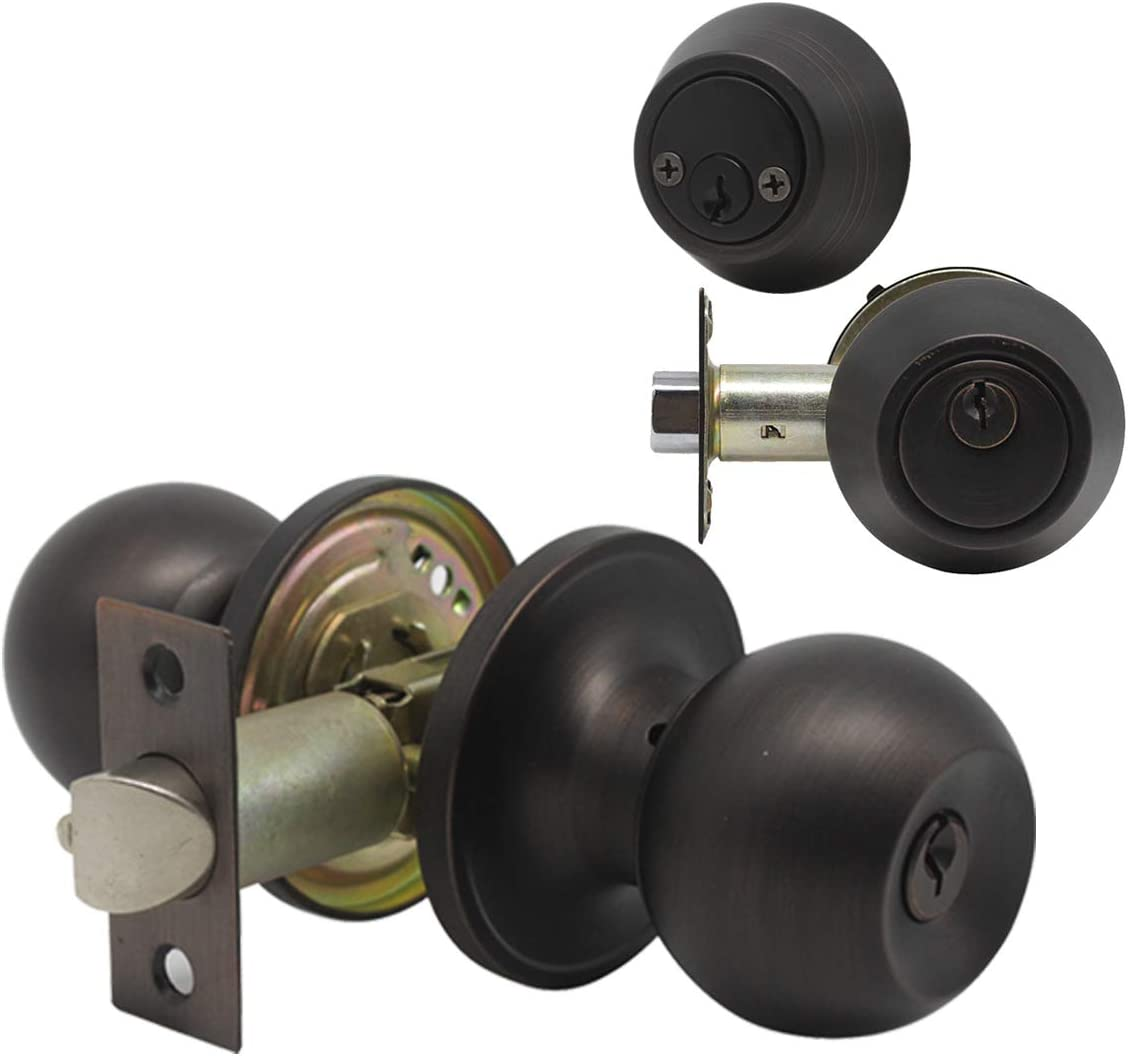 Double Cylinder Keyed Deadbolt with Matching Round Style Knob Door Hardware /& Lock Classic Oil Rubbed Bronze Finish 4 Pack Keyed Alike Entry Door Knobs//Keyed Door Lock