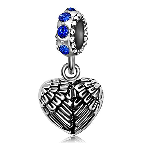 JMQJewelry Angel Wings Heart Guardian Pendant Blue September Christams Gifts Dangel Charms For (Girl Angel Birthstone Charm)