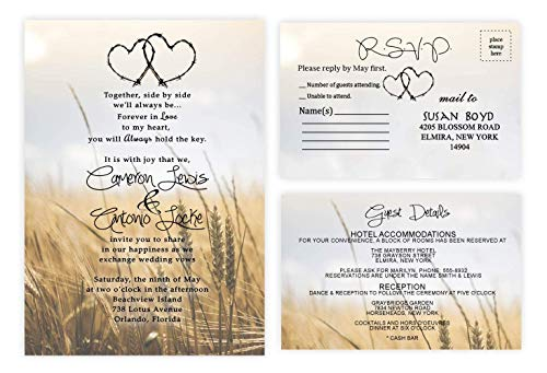 Country heart wedding invitations western theme bridal shower set of -