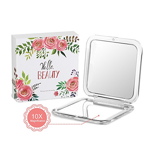 Jerrybox Compact Cosmetic Mirror Pocket Makeup Mirror with 10× Magnification, Handheld Makeup -