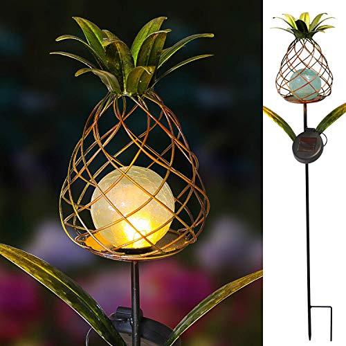 - Coeus Garden Solar Pineapple Lights,Outdoor Metal&Glass Decorative Flicking Dancing Fire Stakes for Pathway Walkway Patio