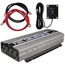 Power TechON 3000W Pure Sine Wave Power Inverter 12V DC to 120V AC with 3 AC Outlets + 1 5V USB Port, 2 Battery Cables, and Remote Switch (6000W Peak) PS1004