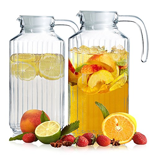 Set of 2 Glass Pitchers with Lid and Spout, 1.8 Liters Ribbed Design Fridge Door Water Dispenser with Handle for Chilled Beverages, Homemade Juice, Iced Tea or Water