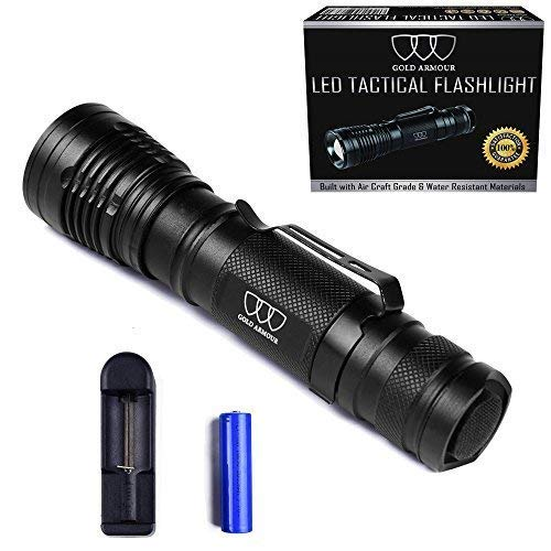 Brightest Tactical Flashlight, LED Nightlight Flashlight - Tactical Flashlight High Powered, Zoomable for Emergency Camping Hiking (Black with Clip)