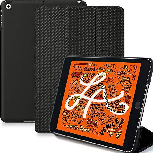 iPad Mini 5 Case - Dual Carbon Fiber Super Slim Cover with Rubberized Back & Smart - Mini Fiber Ipad Carbon Case