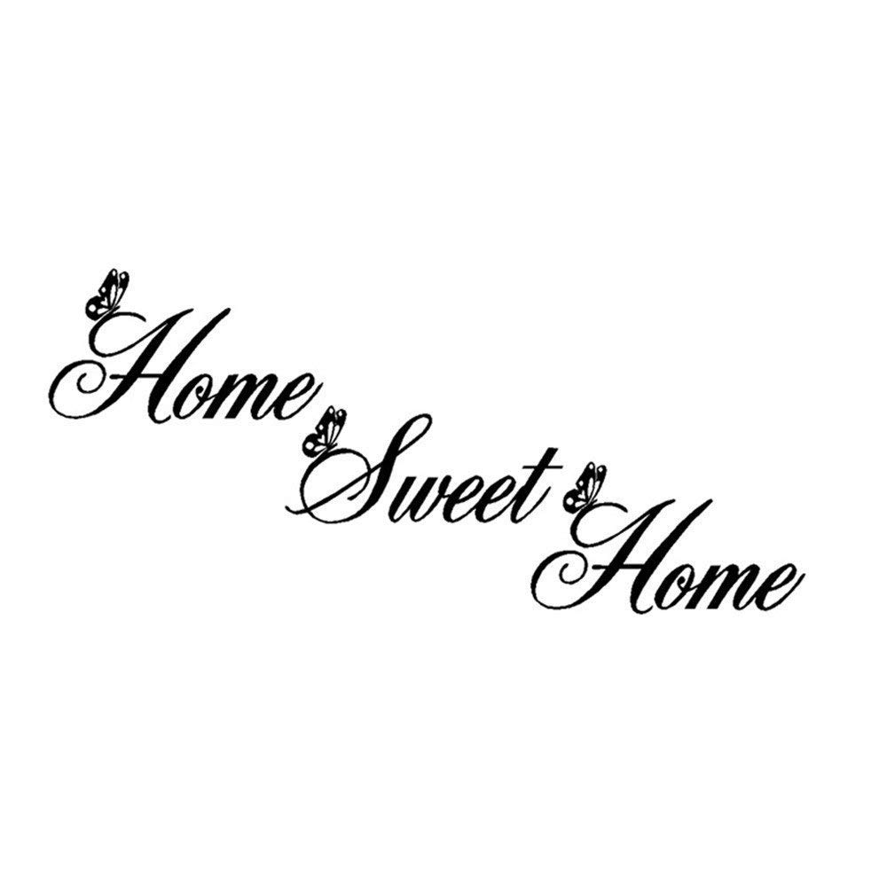 Creatiee Home Sweet Home Quote Wall Decal Sticker, Removable DIY Vinyl Wall Decor Art Mural for Living Room Bedroom Family Decor - Elegant Design & Home Warming Gift