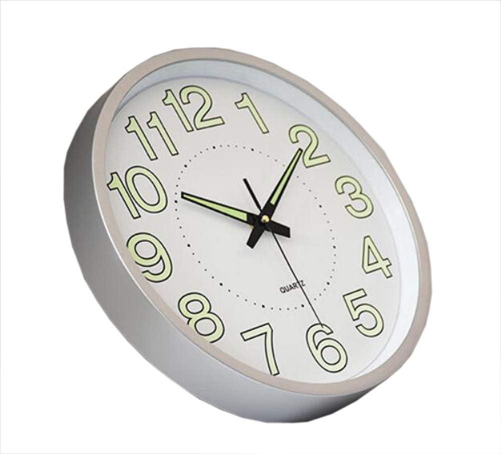 Noir Outpicker 12 Pouces Lumineux en Plastique Horloge Murale Classique /À Piles Horloge Non Tic tac pour Chambre Salon D/écor