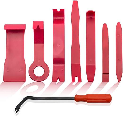 Beilan Auto Zierleistenkeile Set Lösewerkzeug Türverkleidung Demontage Werkzeuge Hebelwerkzeug Für Fahrzeug Innen Verkleidung Reparatur Zierleisten Keil Clip Löser 8 Teilig Auto