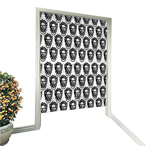 QianHe Cortina de Puerta Estilo japonés, Estilo noren, Color Blanco, Monocromo, Medieval, llamador Antiguo, diseño de...