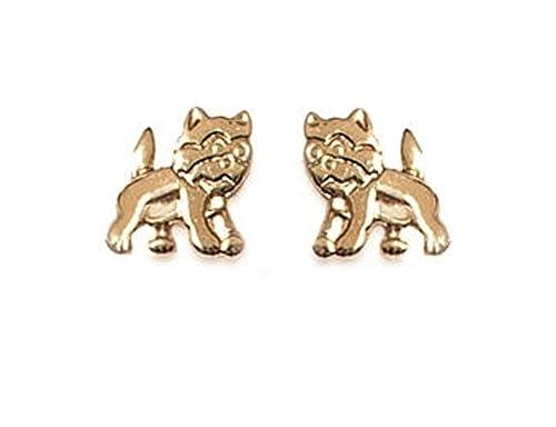 Bijoux niños chapado en oro - Pendientes Gato - Gatos: Amazon.es: Joyería