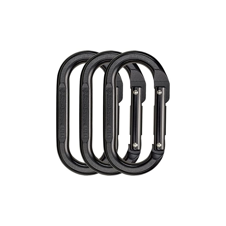 Black Diamond Oval Carabiner 3 Pack Black, One Size