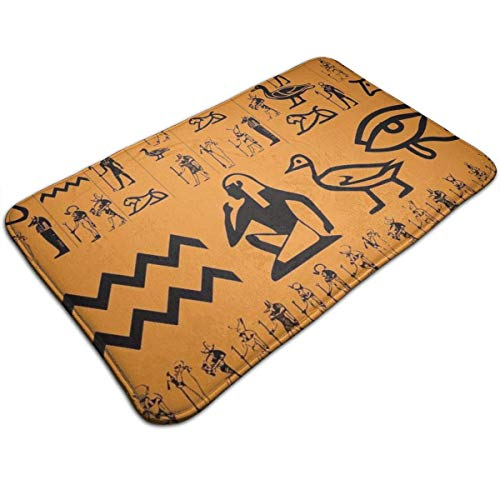 YGUII Indoor Super Absorbs Water Doormat 16X23.6in (40x60cm) Non Slip Ancient Egypt Clipart Orange Door Mat for Bedroom Livingroom Kitchen Bathroom Rug Machine Washable Carpet ()
