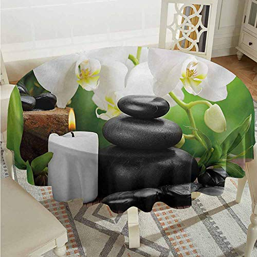 ScottDecor Dining Round Tablecloth Spa Zen Hot Massage Stones with Orchid Candles and Magnificent Nature Remedies Black White and Green Dinning Tabletop Decoration Diameter 60
