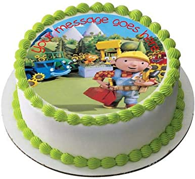 Phenomenal Bob The Builder 19 Cm Round Fondant Icing Edible Cake Topper And Funny Birthday Cards Online Elaedamsfinfo