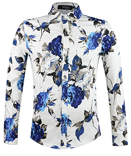 APTRO Men's 100% Cotton Floral Shirt Long Sleeve Flower Shirt #1902 M