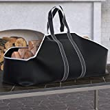 fireplace log tote with stand - Dura Covers Large Canvas Log Tote Bag Carrier Indoor Fireplace Landmann Firewood Totes Holders Round Woodpile Rack Fire Wood Carrier Carrying for Outdoor Tubular Birchwood Stand