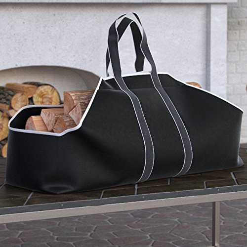 Dura Covers PREMIUM Large Canvas Log Tote Bag Carrier Indoor Fireplace Landmann Firewood Totes Holders Round Woodpile Rack Fire Wood Carrier Carrying for Outdoor Tubular Birchwood Stand