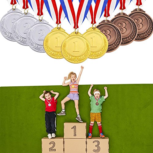 Innocheer 9 Pcs Metal Award Medals with Ribbon - Olympic Style Sports Medals Gold Silver Bronze for Kids and Adults