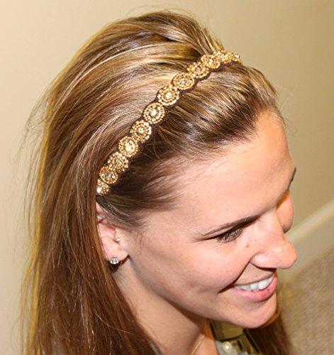 ARIEL- GOLD - Regalia Beaded Rhinestone Stretch No Slip Headband (Hair Jewelry)